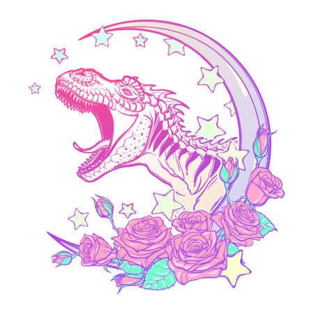 paleontology: Detailed sketch style drawing of the roaring tyrannosaurus rex on Kawaii Moon and roses frame. Tattoo design. Concept art. Pastel goth pallette. EPS10 vector illustration isolated on white background.