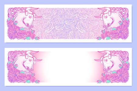 pallette: bannières horizontales avec Zodiac Taurus et un cadre décoratif de roses. élément Web d'astrologie. conception de tatouage. Croquis au pastel pallette isolé sur élégant motif de fond. illustration vectorielle