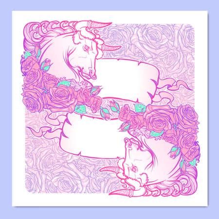 pallette: Signe astrologique du Taureau avec un cadre décoratif de roses et des bannières. Astrologie art conceptuel. conception de tatouage. Croquis au pastel pallette isolé sur l'élégante forme illustration background.Vector.