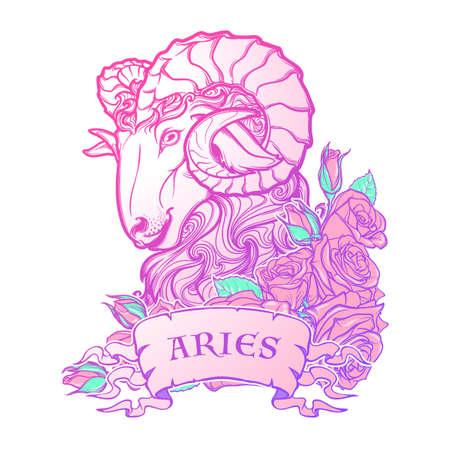 pallette: Signe astrologique du Taureau. avec un cadre décoratif de roses Astrologie art conceptuel. conception de tatouage. Croquis au pastel pallette isolé sur fond blanc. EPS10 illustration vectorielle. Illustration
