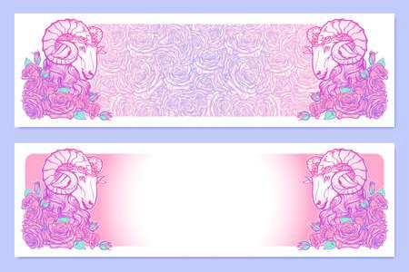 pallette: bannières horizontales avec Zodiac Bélier et un cadre décoratif de roses. élément Web d'astrologie. conception de tatouage. Croquis au pastel pallette isolé sur élégant motif de fond. illustration vectorielle