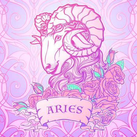 pallette: Signe astrologique du Taureau. avec un cadre décoratif de roses Astrologie art conceptuel. conception de tatouage. Croquis au pastel pallette isolé sur fond blanc. illustration vectorielle.