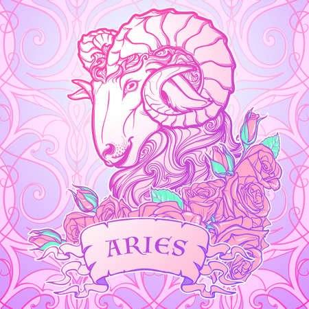 pallette: Zodiac sign of Taurus. with a decorative frame of roses Astrology concept art. Tattoo design. Sketch in pastel pallette isolated on white background. vector illustration. Illustration