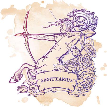 pin up vintage: Segno zodiacale Sagittario con una cornice decorativa di rose Astrologia concept art. Disegno del tatuaggio. stile Gay Pinup. Sketch isolato su sfondo bianco. illustrazione vettoriale EPS10.
