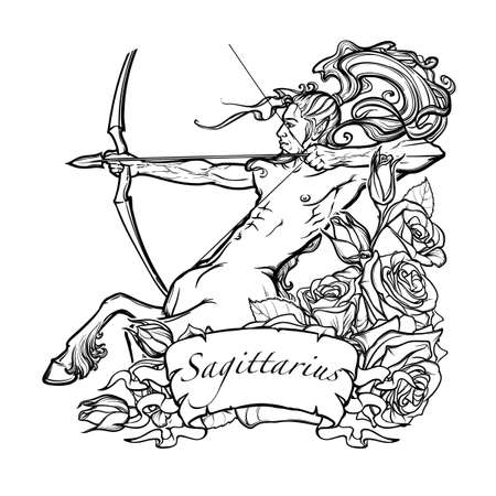 Sagittarius Zodiac sign with a decorative frame of roses Astrology concept art. Tattoo design. Gay Pinup style. Sketch isolated on white background. vector illustration. Illustration