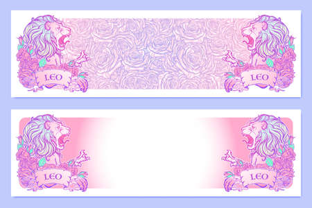 pallette: bannières horizontales avec Zodiac Leo et un cadre décoratif de roses. élément Web d'astrologie. conception de tatouage. Croquis au pastel pallette isolé sur élégant motif de fond. EPS10 illustration vectorielle Illustration