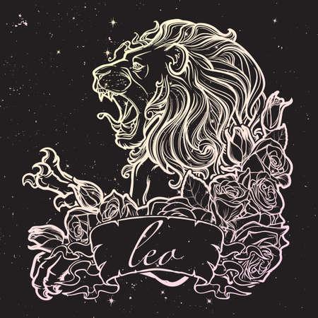 pallette: signe du zodiaque de Leo avec un cadre décoratif de roses Astrologie art conceptuel. conception de tatouage. Croquis au pastel pallette isolé sur fond nightsky étoilé. EPS10 illustration vectorielle.