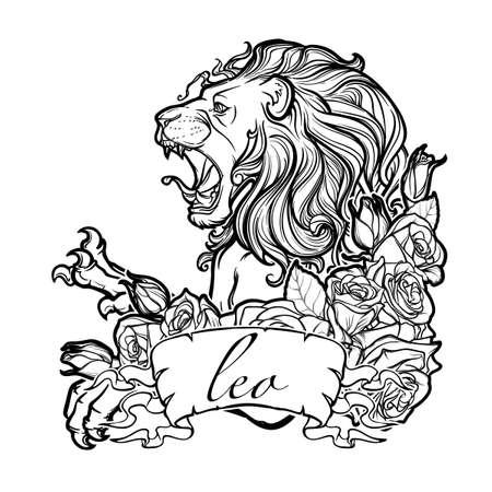pallette: signe du zodiaque de Leo avec un cadre décoratif de roses. Astrologie art conceptuel. conception de tatouage. Croquis au pastel pallette isolé sur fond blanc. EPS10 illustration vectorielle.