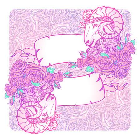 pallette: bannières horizontales avec Zodiac Bélier et un cadre décoratif de roses. élément Web d'astrologie. conception de tatouage. Croquis au pastel pallette isolé sur élégant motif de fond. EPS10 illustration vectorielle