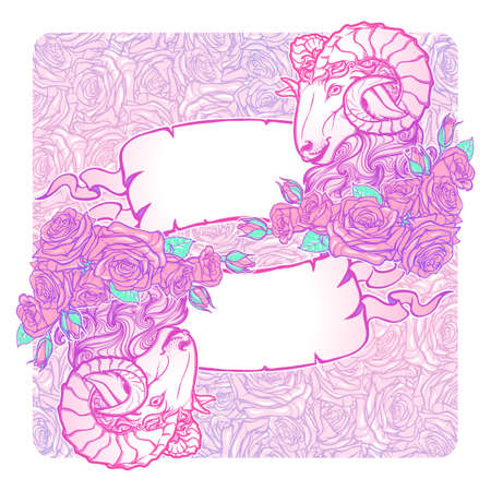 pallette: Horizontal banners with Zodiac Aries and a decorative frame of roses. Astrology web element. Tattoo design. Sketch in pastel pallette isolated on elegant pattern background. EPS10 vector illustration