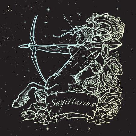 pallette: Signe astrologique du Bélier avec un cadre décoratif de roses Astrologie art conceptuel. conception de tatouage. Croquis au pastel pallette isolé sur fond nightsky étoilé. EPS10 illustration vectorielle. Illustration
