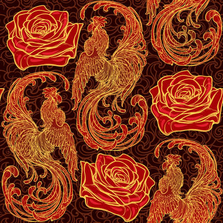 roze: Festive New year simless pattern with red ruster as a symbol of the year and a roze. Intricate linear drawing of the crowing Rooster on contrast background. EPS10 vector illustration.