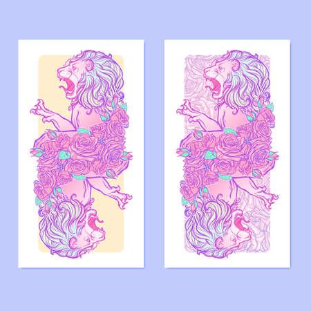 pallette: bannières verticales avec Zodiac Leo et un cadre décoratif de roses. élément Web d'astrologie. conception de tatouage. Croquis au pastel pallette isolé sur élégant motif de fond. EPS10 illustration vectorielle Illustration