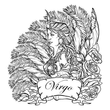 roze: Beautiful woman with a decorative flower frame. Zodiac Art Nouveau luxury style set. Virgo. Tattoo design. Black linear drawing isolated on white. EPS10 vector illustration. Illustration