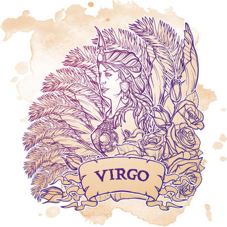 roze: Beautiful woman with a decorative flower frame. Grunge background. Vintage style. Zodiac Art Nouveau luxury style. Virgo. Tattoo design. EPS10 vector illustration.