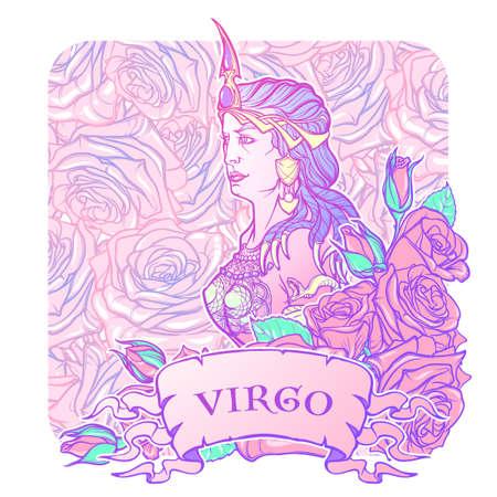 roze: Beautiful woman with a decorative flower frame. Seamless pattern background. Zodiac Art Nouveau luxury style set. Virgo. Tattoo design. Pastel goth colors. EPS10 vector illustration.