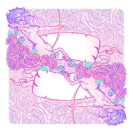Zodiac Sagittarius and a decorative frame of roses. Astrology web element. Tattoo design. Sketch in pastel pallette isolated on elegant pattern background. EPS10 vector illustration