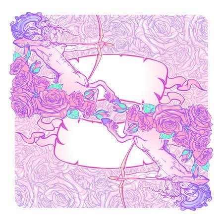 pallette: Zodiac Sagittaire et un cadre décoratif de roses. élément Web d'astrologie. conception de tatouage. Croquis au pastel pallette isolé sur élégant motif de fond. EPS10 illustration vectorielle