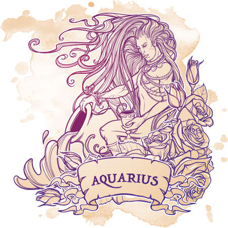 Zodiac sign Aquarius. Young man with long hair holding large amphora. Water flowing out. Frame of roses. Vintage art nouveau style concept art for horoscope, tattoo or colouring book. Illustration