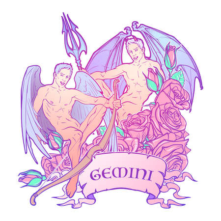Gemini Zodiac sign with a decorative frame of roses. Beautiful male twins. Concept art for horoscopes, tattoo design, colouring books. Gay Pinup style Sketch isolated on white background. EPS10 vector Stock Photo