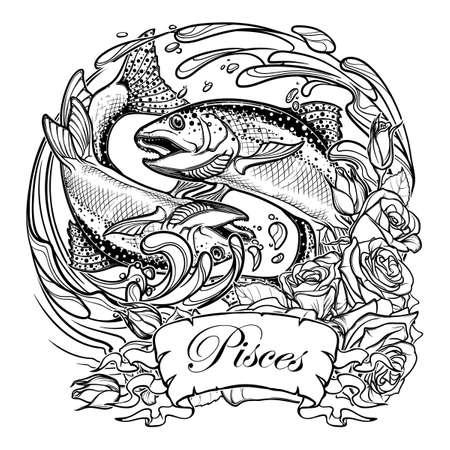 조디악 로그인 - 물고기입니다. 두 물고기 물에서 점프입니다. 동그라미 조성, 장미 장식 프레임. 별자리, 문신 또는 색칠 공부 책에 대 한 빈티지 아르