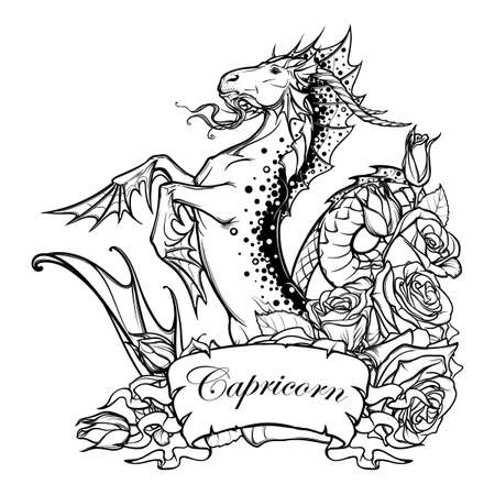 Signo Zodiacal Capricornio. Fantástica Criatura Del Mar Con El ...