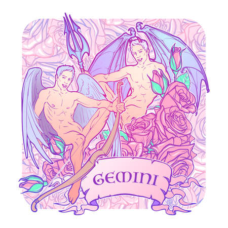 Gemini Zodiac sign with a decorative frame of roses. Beautiful male twins. Concept art for horoscopes, tattoo design, colouring books. Gay Pinup style Sketch isolated on white background. EPS10 vector Illustration