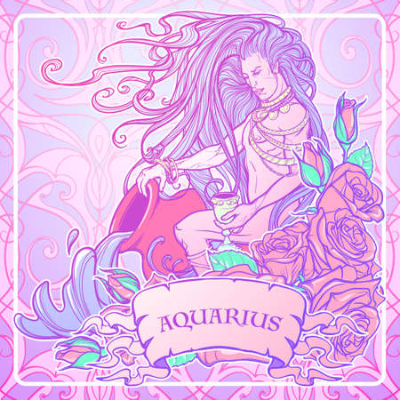 celestial body: Zodiac sign Aquarius. Young man with long hair holding large amphora. Frame of roses. Water flowing out. Vintage art nouveau style concept art for horoscope or tattoo. Pastel goth palette Illustration