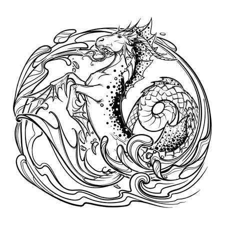fantastic creature: Zodiac sign Capricorn. Fantastic sea creature with body of a goat and a fish tail Decorative water swirls. Vintage art nouveau style concept art for horoscope, tattoo or colouring book. EPS10 vector