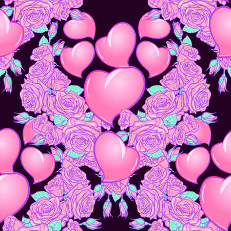 Roses and Hearts seamless pattern. St Valentines day festive design isolated on black background. EPS 10 vector illustration Illustration