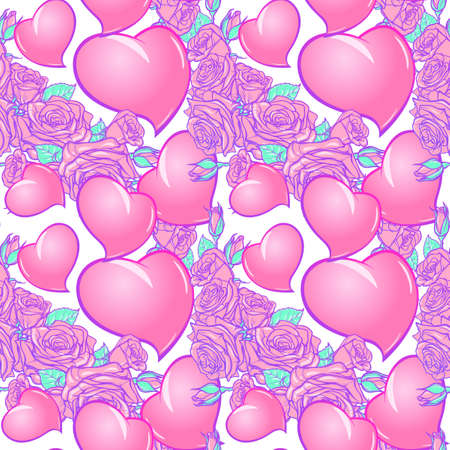Roses and Hearts seamless pattern. St Valentines day festive design isolated on white background.. EPS 10 vector illustration Illustration