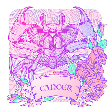 Zodiac sign - Cancer. Accurate symmetrical drawing of the beach crab with a frame of roses. Concept art for tattoo, horoscope. Pastel colors. Linear drawing itolated on texture background Illustration