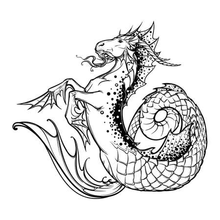 fantastic creature: Zodiac sign Capricorn. Fantastic sea creature with body of a goat and a fish tail Decorative frame of roses. Vintage art nouveau style concept art for horoscope, tattoo or colouring book. EPS10 vector