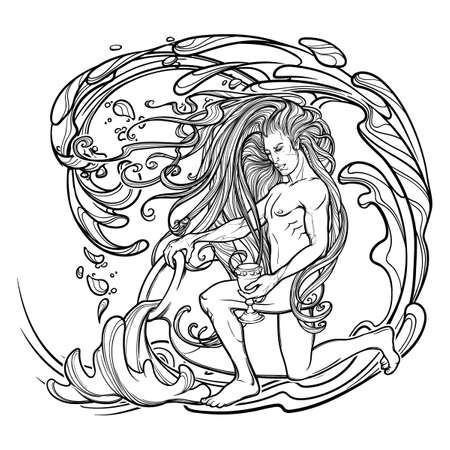 Zodiac sign Aquarius. Young man with long hair holding large amphora. Water flowing out. Frame of roses. Vintage art nouveau style concept art for horoscope, tattoo or colouring book. 向量圖像