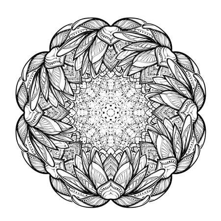 fleur de lotus mandala. dessin stylisé linéaire complexe isolé sur fond blanc. Concept art pour le yoga hindou et conceptions spirituelles. conception de tatouage. illustration vectorielle EPS10.
