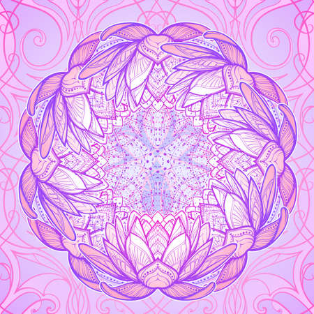 Lotus flower mandala. Intricate stylized linear drawing isolated on pattern background. Concept art for Hindu yoga and spiritual designs. Tattoo design. EPS10 vector illustration. Ilustrace