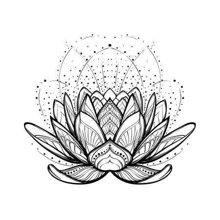 Lotus flower. Intricate stylized linear drawing isolated on white background. Concept art for Hindu yoga and spiritual designs. Tattoo design. EPS10 vector illustration. Vettoriali