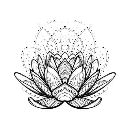 Lotusbloem. Ingewikkelde gestileerde lineaire tekening geïsoleerd op een witte achtergrond. Concept kunst voor hindoe yoga en spirituele ontwerpen. Tattoo ontwerp. EPS10 vector illustratie. Stock Illustratie