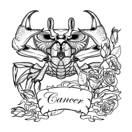 Zodiac sign - Cancer. Accurate symmetrical drawing of the beach crab with a frame of roses. Concept art for tattoo, horoscope. Coloring book illustration. Linear drawing itolated on white background