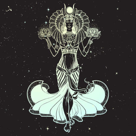 Egyptian goddess Isis balancing in hands black and white lotus as a symbol of life and death. Full body view. Vintage art nouveau style concept art . Night sky background
