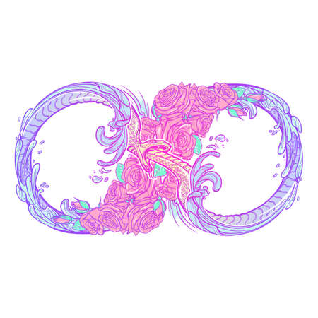 holy book: Uroboros serpent. Artistic decorative interpretation of the mathematical symbol with snake consuming its tail and rose garland. Concept design for the tattoo, colouring book or postcard. EPS10 vector.