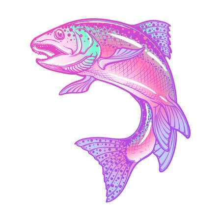 점프하는 무지개 송어의 현실적인 복잡 한 드로잉. 파스텔 색상 손을 흰색 배경에 격리 된 그리기. 별자리, 문신 또는 색칠하기 책 개념 미술. EPS10 벡터