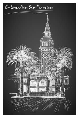alley: Panorama of the Embarcadero ferry building in San Francisco and palm tree alley. Cityscape, urban hand drawing. Sketch imitating chalk drawing on a blackboard. EPS10 vector illustration.