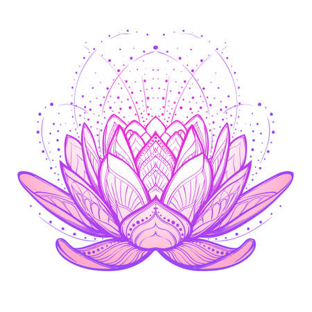 Lotus flower. Intricate stylized linear drawing isolated on white background. Concept art for Hindu yoga and spiritual designs. Tattoo design. EPS10 vector illustration.  イラスト・ベクター素材