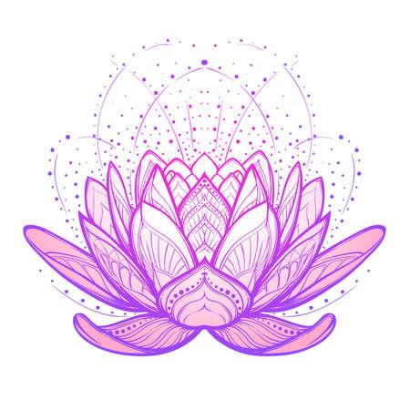Flor de loto. Dibujo complejo lineal estilizada aislado en el fondo blanco. Arte conceptual para el yoga hindú y diseños espirituales. Diseño de tatuaje. ilustración vectorial EPS10.