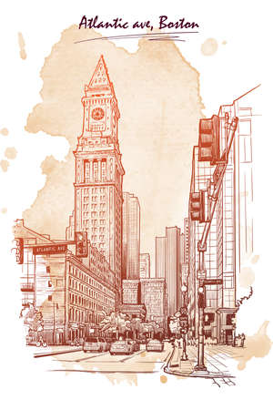 Panorama of the Embarcadero ferry building in San Francisco and palm tree alley. Cityscape, urban hand drawing. Sketch isolated on white background. EPS10 vector illustration. Illustration