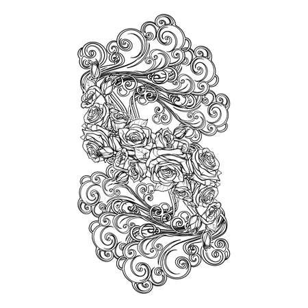 Element Air. Viñeta Decorativa Artística Con Las Nubes Rizadas Y La ...