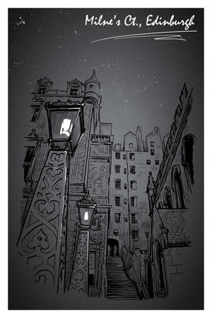 Milnes court passageway at night. Edinburgh, Scotland, the UK. Urban sketch series. Ink or engraving style sketch isolated on textured night sky background. Editable EPS10 vector illustration.