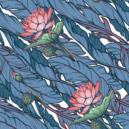 Lotus achtergrond. Bloemen naadloos patroon met waterlelies en banaanbladeren op witte achtergrond. Diagonaal ritme. EPS10 vectorillustratie. Vector Illustratie