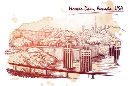 Hoover Dam stunning panoramic view. Linear hand drawing on a grunge spot ba. Sketch style. EPS10 vector illustration. Illustration